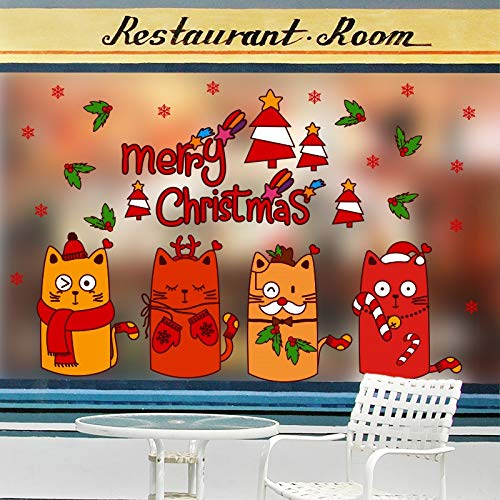 (Shop wall sticker Christmas window glass stickers window dress up decoration cartoon cute color cat)