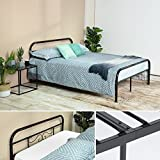 EGGREE Metal Double Bed Frame with Strong Metal Slats, Black without Mattress