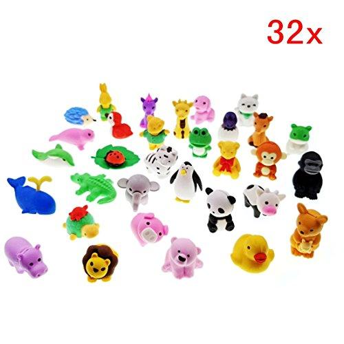 JZK 32 x Abnehmbar klein Radiergummi Mini Tier Radiergummi Satz Kinder Spielzeug Geschenk für...