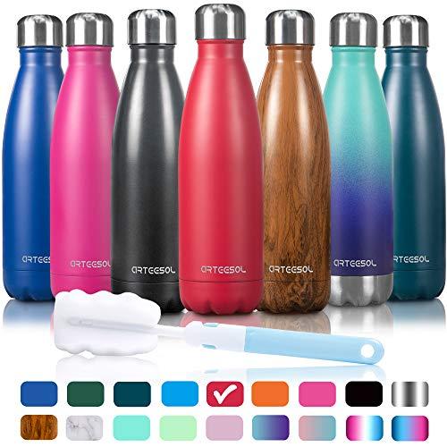 arteesol Wasserflasche-Doppelwand-Vakuum-Edelstahl-Flaschen-Auslaufsicher hält heiße und kalte Getränke für Laufen, Fitness, Wandern, Radfahren, Camping, Arbeiten (Mattrot, 500ml)