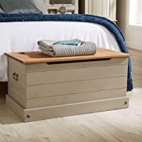 Home Source Solid Wood Ottoman Storage Chest Mexican Grey Toy Chest Bedding Blanket Box