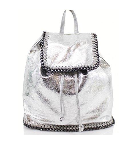 LeahWard Damen Faux Leder Rucksäcke Handtaschen Zip Rucksack für Schule Urlaubsarbeit Fitnessstudio Reise CW1063 (Silber) (Cabrio-leder-slip)