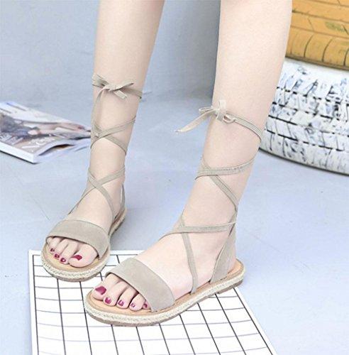 Sandales à bout ouvert les femmes se croisent spartiates chaussures chaussures de dentelle sauvages Khaki