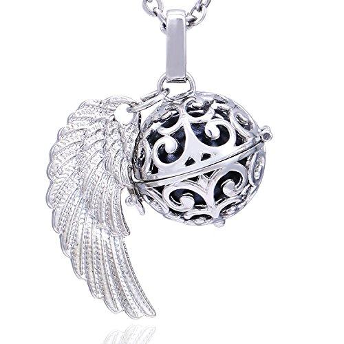 Morella Damen Schutzengel Halskette Edelstahl 70 cm mit Anhänger Engelsflügel und Klangkugel schwarz Ø 16 mm in Schmuckbeutel