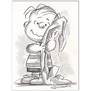 Original Kreidezeichnung auf Zeichenkarton: Peanuts Linus van Pelt / 24x32 cm