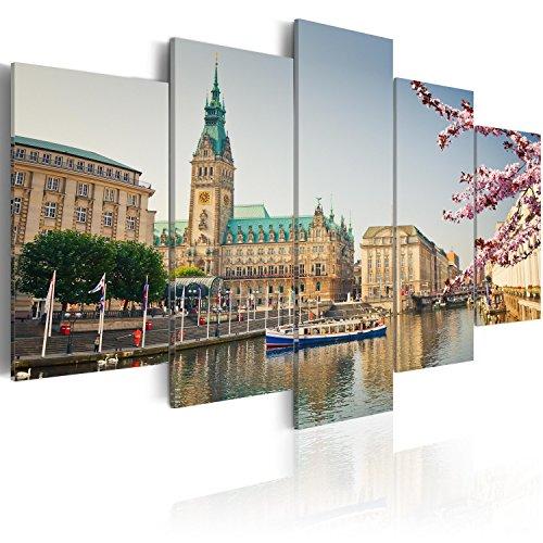 murando - Bilder Hamburg 200x100 cm Vlies Leinwandbild 5 TLG Kunstdruck modern Wandbilder XXL Wanddekoration Design Wand Bild - Stadt Rathaus d-B-0168-b-m - Stadt Rathaus