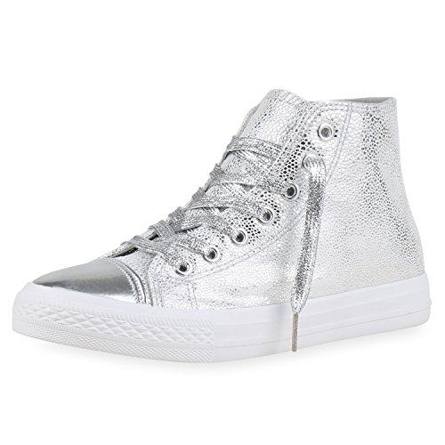 best-boots Damen High-Top Sneaker Schnürer Slipper Halbschuhe Sportlich Damen Sneakers Silber Argento Nuovo 37