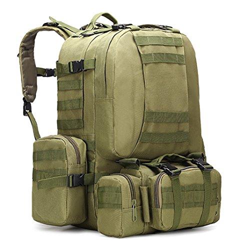 Sport im freien taktische militär rucksack multifunktionale sling schulter rucksack reisen große wandern trekking - rucksack mit 3 camping zerlegbar molle taschen, rucksäcke 60L Army green