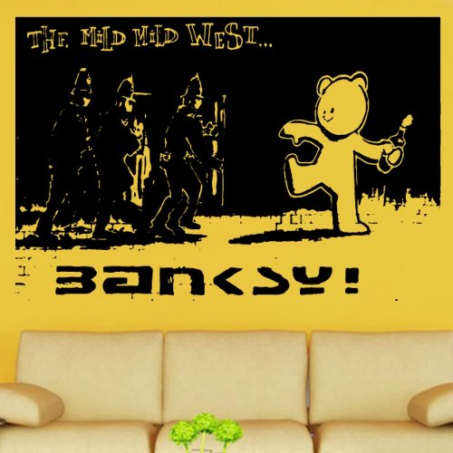 "Kult Kanvas, 60x 90cm Banksy Mild Mild West Design 3""In Vinile Adesivo da parete, colore: rosso, Rosso, 60 x 90 cm Large"