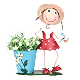 Best Gifts & Decor Garden Decors - Wonderland Small Red Girl with Pot, Planters, Metal Review