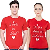 iberry's 100% Cotton Couple Tshirt - Set of 2 (Stole My Heart-16) XL/XXL, RED