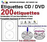 100 fogli 2 CD/DVD etichette Adesivi etichette adesive diametro 117 mm Fogli stampanti laser e inkjet