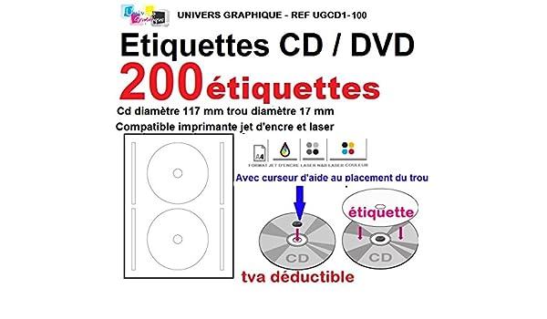 200 CD-ETIKETTEN 117MM KOMPATIBEL AVERY ZWECKFORM L7676-100 KINGSIZE