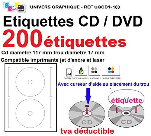 200 Etiketten selbstklebend standard cd/dvd, selbstklebend, Durchmesser 117 mm mit 17 mm Lochung, mit Schieber Investmentfonds-Blatt-Etiketten Etikett für cd/dvd, Verwendung: Tintenstrahldrucker, und laser- Drucker und effektvolle Briefe cd mit Bilder oder einen Wortlaut, kompatibel mit allen standard-Software Grafik-Referenznummer UGCD1 Marke (Dvd-drucker-etiketten)
