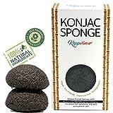 Esponja Konjac, limpiador facial con Carbón Activado - Pack de 2 esponjas - Grasas y Propensas al Acné. Limpia y Exfolia Delicadamente y en Profundidad, 100% Natural, Vegan, Sostenible, Biodegradable! desde Keppvim