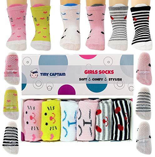 Tiny Captain Anti-Rutsch-Socken für Mädchen, für Kleinkinder von 1–3Jahren, tolles Geschenk, in Roa / Blau / Grün / Gelb / Violett / Weiß -