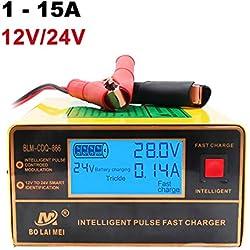 Chargeur de Batterie, 1A à 15A 12V/24V Reconnaissance Automatique Chargeur Rapidede Batterie de Voiture Chargeur Intelligent Chargeur d'impulsion avec Grand écran LED