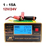 Chargeur de Batterie, 1A à 15A 12V/24V Reconnaissance Automatique Chargeur Rapidede Batterie de Voiture Chargeur Intelligent Chargeur d'impulsion avec Grand écran LED...