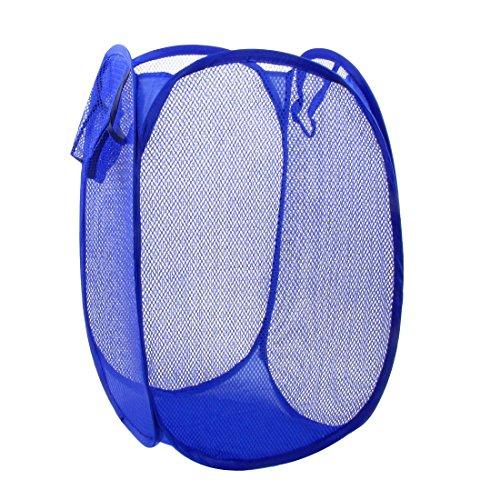 TOOGOO(R) Maison Pliable Filet Bleu Conception Stockage des Vetements de Panier a lessive Panier a linge