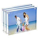 Acrilico cornice portafoto 15x 20cm, magnetico blocco acrilico cornice, desktop Frameless Photograph display-Confezione da 3