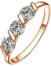 Yoursfs anillos baratos mujer de Chapado en Oro Rosa 18k con cristales brillantes