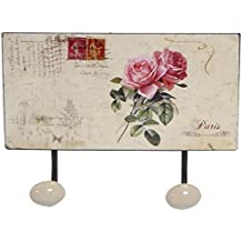 Perchero (metal, flores rosas Diseño Vintage 2perchero con texto 'Paris'