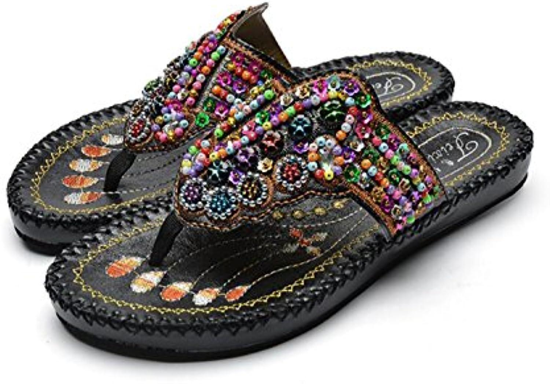 DANDANJIE Femmes Tongs Summer Beach Pantoufles Brodé Perlé Clip  Toe Talon Plat Style Ethnique de Mode  Clip s...B07BFC3PZ7Parent 612782