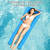 Festnight Inflatable Floating Lounger Portable Pool Float Bed Swimming Pool Sea Inflating Recliner