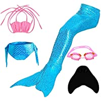 XINYUANJIAFANG YYFishtail Mermaid Bkini Chicas Sparkle Mermaid Tail con Mono Fin Swimmable Swimwear 5 Pcs, Blue, 120cm