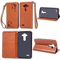 Cozy Hut LG G3 Hülle | Handyhülle | Schutzhülle | Handytasche | Tasche | Cover | Case mit Premium Vintage/Retro Genuine Scrub Leather Flip Folio Leather Wallet Stand Case with Card Slots and sid