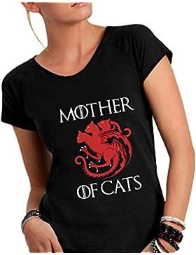 T-Shirt Donna Cotone Fiammato Scollo Ampio a Taglio Vivo - Mother Of Cats - Divertente Humor Made in Italy