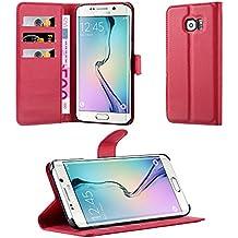 Cadorabo - Funda Samsung Galaxy S6 EDGE PLUS Book Style de Cuero Sintético en Diseño Libro - Etui Case Cover Carcasa Caja Protección (con función de suporte y tarjetero) en ROJO-CARMÍN