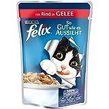 Felix So gut wie es aussieht Katzenfutter Rind, 20er Pack (20 x 100 g) Beutel