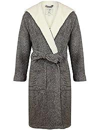 Robe de Chambre en Polaire Doux à Capuche, Chaud, Gris Chiné - Homme