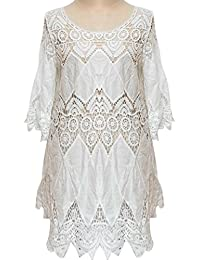 Moda Chic dama verano Bikini Crochet delantal hueco demasiado largas playa  mujer túnica vestido trajes de 0c81d71e5a3f