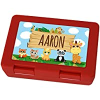 Preisvergleich für Brotdose mit Namen Aaron - Motiv Zoo, Lunchbox mit Namen, Frühstücksdose Kunststoff lebensmittelecht
