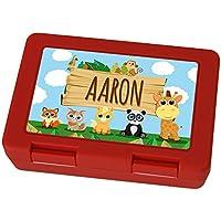 Brotdose mit Namen Aaron - Motiv Zoo, Lunchbox mit Namen, Frühstücksdose Kunststoff lebensmittelecht - preisvergleich