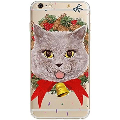 ICHOW Ultra fino flexible caso de la cubierta del teléfono transparente El sitio exacto del agujero Protector del teléfono celular Navidad Patrón para Iphone 7, gato de la Navidad
