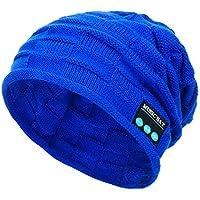 LILICAT❋ Gorra Cuadrada de Punto de música Bluetooth, Winter Unisex Bluetooth Wireless Beanie Hat Manos Libres Altavoz de música (Azul, Negro, Gris, marrón, Rojo)