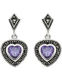 Ornami B91/MSE-015 Ladies' Silver with Amethyst Heart Earrings