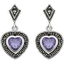 Boucles d'oreille - B91/MSE - 015 - Pendientes de mujer de plata con amatistas y marcasitas