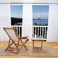 PONYDANCE Visillos Blancos para Exterior Jardin Interior Salon (137 x 271 cm (An x Al), 1 Panel)/Cortinas Infantiles Semitraslucidas Antimoscas con Trabillas Alzapaño