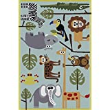 100% Original GuzelWorld Carpets For Kids Room - Kids Themed Hand Carved & Tufted Area Rug, 4' X 6', Multi-color Animals Themed On Light Blue Base