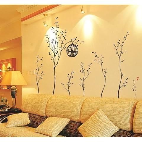 Walplus - Vinilo adhesivo decorativo para la pared, diseño de árboles con jaulas de pájaros
