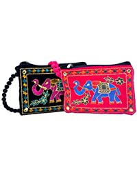 Craft Trade Designer Embroided Mobile-Phone Pouch Cover Set Of 2