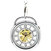 Infinite U Retro Reloj Forma de Alarma Colgante Collar Reloj de Bolsillo Mecánico Sin Tapa