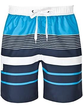 mareno® - Herren Badeshort mit modernem Streifenmuster in blau