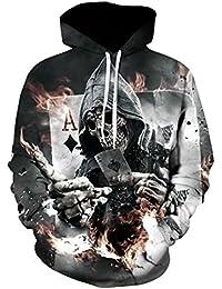 Comeon Skeleton Hoodie, Men Zombie Skull Hoody Unisex Realistic 3D Digital Print Bone Fire Pullover Hoodie Hooded Sweatshirt