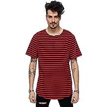 VENMO Raya floja Camiseta con manga corta impresión Casual blusa Tops de los hombres