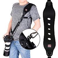 Coolway® profesional de acción rápida correa de hombro para cámara con el clip de liberación rápida w/ función de seguridad w/ sistema de bloqueo rápido con hasta 15 kg (negro)